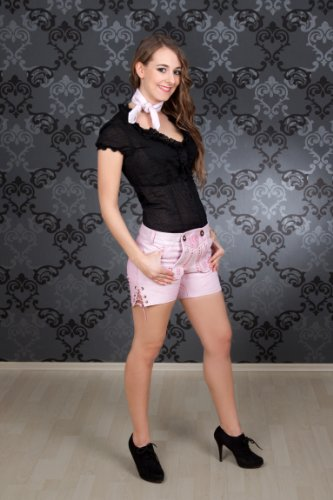 Highlight! Sexy Damen Trachten Ledershorts Pink Princess aus weichem Rindleder, Rosa, 36 - 3