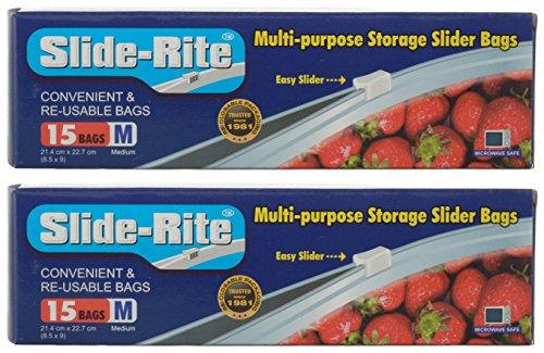 Slide-Rite Plastic Multi-Purpose Storage Slider Bag, 30 Piece, 500 ml, Clear, Set of 2