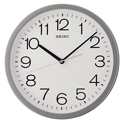 Seiko Orologio da Parete Rotondo con Custodia, plastica, Grey, 32.3 x 32.3 x 5 cm