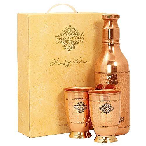 Indian Art Villa Copper Cocktail Shaker Bottle with 2 Glass, Luxury Design, Diwali Gift Set Anniversary Party Christmas Box, 3 Pieces, Brown