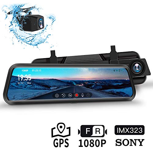 """Dash Cam, DuDuBell 10\""""-IPS-Touchscreen-Dashcam, Dual Dashcam (1080P + 1080P, 310 ° Weitwinkel) mit Nachtsicht bei Sternenlicht HDR Plus, GPS inklusive, IP68 wasserdichte Rückfahrkamera"""