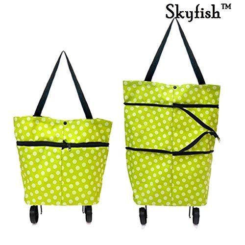 Skyfish® Foldable Shopping Travel Dual Wheel Waterproof Trolley Bag (Multi Color)