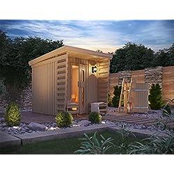 Premium Gartensauna Fortuna von Isidor; Outdoorsauna mit 4,1m² großem Saunaraum und großer Veranda für ein puristisches Saunavergnügen