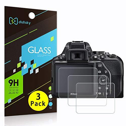 Didisky Vetro Temperato per Nikon D3500, D3400, D3300, D3200, [3 Pezzi] Pellicola Protettiva [Tocco Morbido ] Facile da Pulire, Facile da installare, Trasparente
