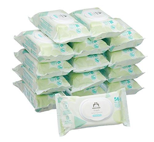 Marchio Amazon -  Mama Bear Fresh Salviette umidificate per bebè - 15 confezioni (840 salviette)