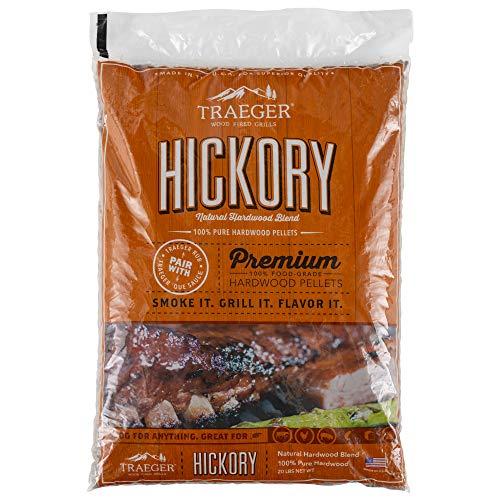 Traeger PEL319 Grills Hickory 100% All-Natural Hardwood Pellets - Grill, Smoke, Bake, Roast, Braise, and BBQ (20 lb. Bag)
