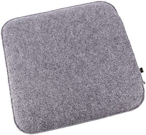 Filz Sitzkissen in Graumeliert/cremeweiß zum Wenden, waschbare Stuhlauflage mit Füllung inkl. Reissverschluss. Sitzauflage für Bank und Stuhl, Sitzpolster/Filzauflage weich gepolstert.
