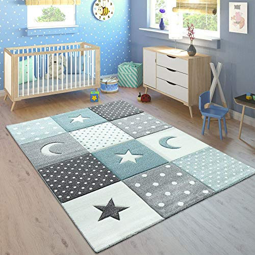 Tappeto per Bambini Colori Pastello Quadri Punti Cuori Stelle Bianco Grigio Blu, Dimensione:80x150...