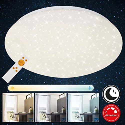 Briloner Leuchten LED Deckenleuchte mit Fernbedienung, Deckenlampe dimmbar, Farbtemperatursteuerung, 2200 Lumen, Ø 39 cm, 22 W, Weiß