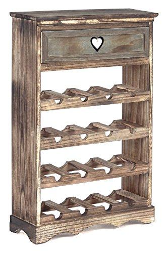 ts-ideen Cantinetta Portabottiglie in legno effetto Consumato per 16 bottiglie completa di cassetto...