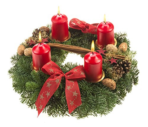 floristikvergleich.de Dominik Blumen und Pflanzen, Adventskranz Weihnachtsglanz, 30 cm im Durchmesser,mit roten Kerzen