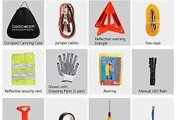 SAILNOVO Kits d'Urgence Voiture Kit De Secour Auto Multifonctionnel 24 en 1, Triangle de Signalisation, Gilet jaune réfléchissant, Câble de Démarrage, Corde de Remorquage, Lampe de Poche Etc (noir, 24 en 1) Offre de prix