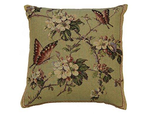 """Cojín de mariposas y flores 18in X 18""""peso pesado Tela Shabby Chic Vintage"""