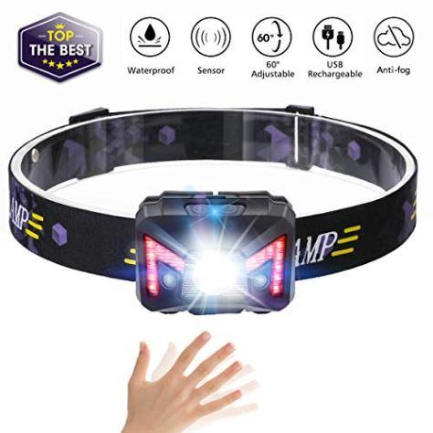 LED Stirnlampe,SGODDE Mini Kopflampe USB Wiederaufladbare,Sensor Kopfleuchte Warnen- Rotlicht, Wasserdicht Leichtgewichts,5 Modi Perfekt fürs Laufen, Joggen, Angeln, Campen