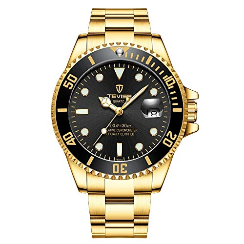 Tevise Mechanical Automatic Classic Watch for Men Automatic - Steel - Gold Black