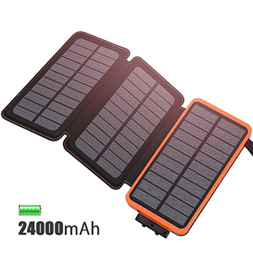 FEELLE Caricabatterie Solare 24000mAh, Portatile Power Bank con 3 Pannelli Solari Ricarica Veloce...