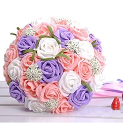 floristikvergleich.de 30 Stück künstliche Hochzeits-Blumenstrauß-Braut Brautstrauß Lila + Rosa + Weiß