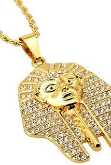 Faraón Cabeza de Hip Hop de los hombres de 18 quilates chapado en oro egipcio de época con el Rhinestone colgante collar de oro de los faraones de Egipto