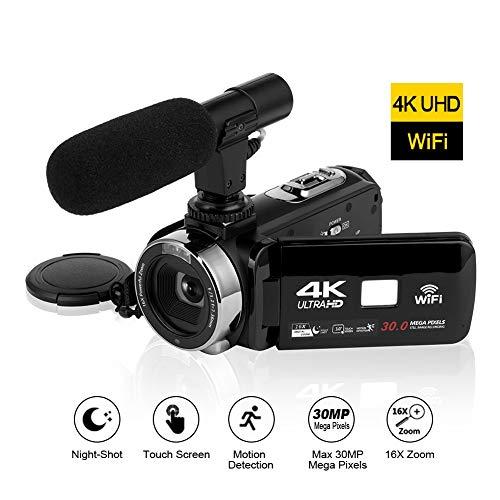 Videocamera 4K Ultra HD Videocamere con il Microfono Connettività WiFi Camcorder da 3,0 pollici con...