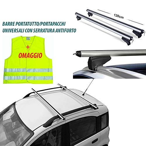 Rebeca Shop - Barre universali portapacchi per auto 120cm con barre longitudinali gia montate +...