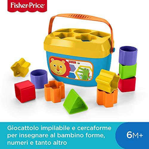 Fisher-Price- Blocchi Assortiti, Secchiello con Cercaforme, Giocattolo per Bambini 6+ Mesi, FFC84