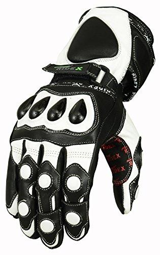 RIDEX G7W Knöchelschutz Wasserdichte Motorrad Leder Handschuhe weiß & schwarz 1