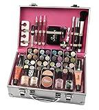Maletín de maquillaje Urban Beauty, 60 productos. Ideal para viajar, para regalo, para guardar el maquillaje.