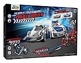 Darda 50249 - Darda Rennbahn Police Hunter, Fahrbahnlänge ca. 10,30 m, mit 2 Porsche GT3 911 Polizei und in silber mit Stop&Go Motor, Rennauto Spielset für Kinder ab 5 Jahre, 3 Aufbauvarianten