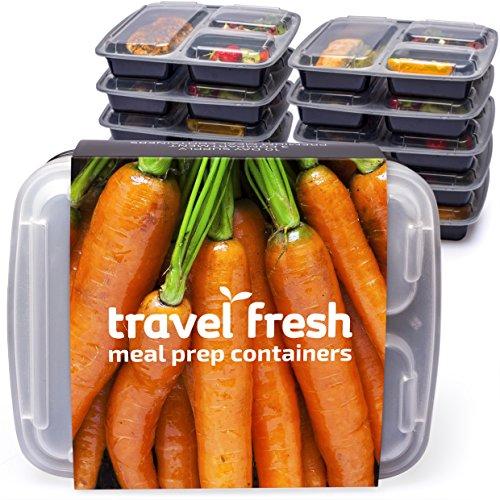 |10PACK| comida de 3compartimentos Prep contenedores. Juego de Bento Box con tapas. Seguro para lavavajillas, Microondas y Congelador. Apilable, reutilizable y plástico sin BPA. Producto de calidad superior.