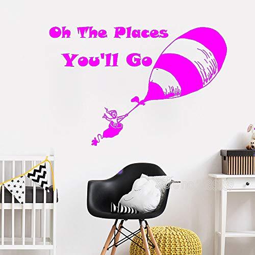 zqyjhkou 163x110 cm Citazione Stickr Wall di Grandi Dimensioni Oh The Places You Go You Art Mural...