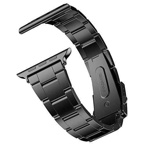 JETech Cinturino di Ricambio Compatibile con Apple Watch 42mm e 44mm Series 1 2 3 4 5, Acciaio Inossidabile, Nero