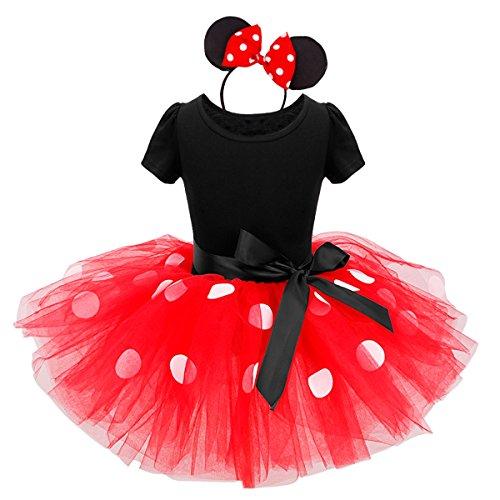 MSemis Vestido Tutú Princesa para Bebés Niñas 1-6 Años Disfraz de Senorita Ratoncita con Diadema Fiesta Cumpleaños Fotografía Negro y Rojo 2 Años