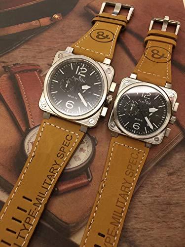 AGEGIERA Luxury Uomo Donna Orologio Cronografo Cronometro Sapphire Acciaio Inossidabile Argento Luminoso Pelle Marrone Giallo Bianco AAA +Donna 40mm