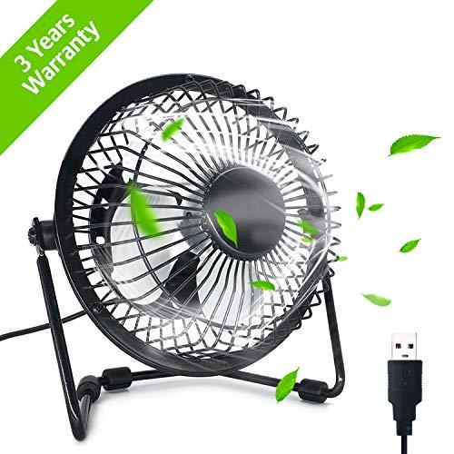 Ezlife Mini Ventilatore USB, Mini Ventilatore Portatile 4 Pollici 360° Girevole Ventilatore da...