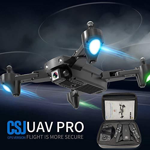 Mobiliarbus RC Drone CSJ S166GPS con Fotocamera 1080P Seguimi Ritorno Automatico a casa WiFi FPV Foto di gesti di Video in Diretta RC Quadcopter per Adulti Principianti con Borsa a 3 batterie