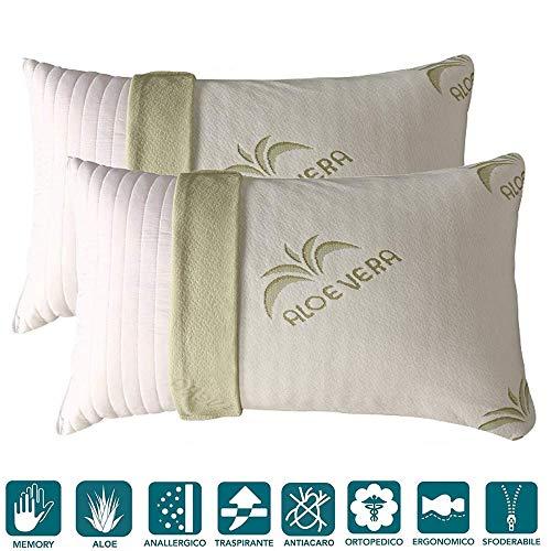 Evergreenweb - Coppia Cuscini Memory Foam con Fodera ALOE VERA 40x70 alti 15cm 2 Guanciali Letto per...