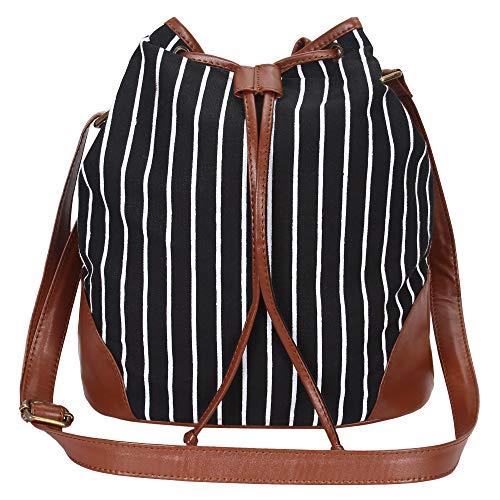 Lychee Bags Women's Canvas Shaun Sling Bag(Black)