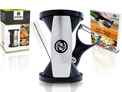 THE ORIGINAL ZOODLE SLICER - Premium Vegetable Spiralizer, Spiral Slicer, Zucchini Noodle Pasta Spaghetti Maker, Create Both Julienne Spirals & Fettuccine Floral, (Recipe eBook and Cleaning Brush Included)