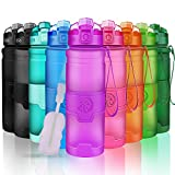 Best Sports Water Bottle- 500/700/1000ml- Reusable & BPA Free Leak Proof Drink Bottles With Filter- For Kids School,Gym,Running,Outdoor,Cycling- Lockable Flip Top Lid, Open With 1-Click- Pink 24oz
