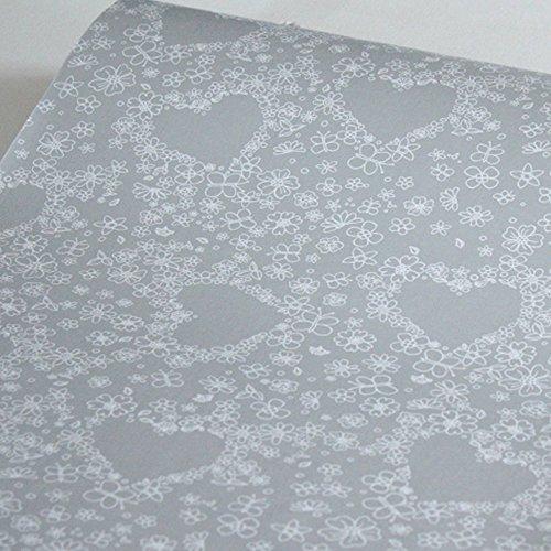 LoveFaye, carta autoadesiva, motivo fiori e cuori, rimovibile, decorativa, ideale per rivestire...