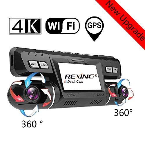 4K WiFi GPS Dash Cam, Anteriore e Posteriore Doppia 360° Ruotabile 170 Gradi Grandangolare Telecamera Dash Cam per Auto Atti Vandalici con Registrazione Continua e Sony WDR Visione Notturna, Dashcam