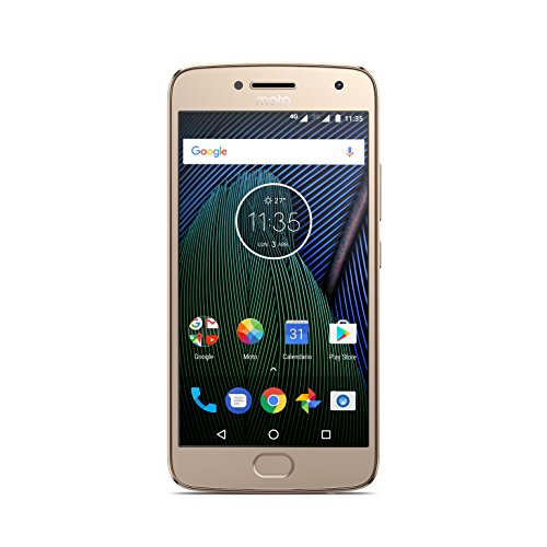 Moto G 5ª Generación Plus - Smartphone libre Android 7 (pantalla de 5.2'' Full HD, 4 G, cámara de 12 MP Dual Pixel, 3 GB de RAM, 32 GB, Qualcomm Snapdragon 2.0 GHz), color dorado - [Exclusivo Amazon]