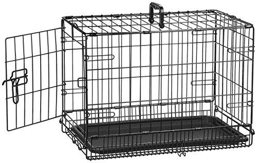 AmazonBasics - Gabbia in metallo richiudibile, per cani, Portiera Singola, 56 cm