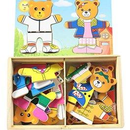 Bear Family puzzle in legno puzzle magnetico prima infanzia giocattoli educativi per bambini famigli
