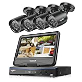 SANNCE 4CH 1080N Home Security DVR Recorder w/ 4 1.0MP Weatherproof CCTV Cameras System, 1280*960P, Hybrid HVR/NVR/DVR With 10.1-inch LCD Screen Monitor, Motion Detect, Mobile View,Email Alert, HD Video Monitor, NO Hard Drive