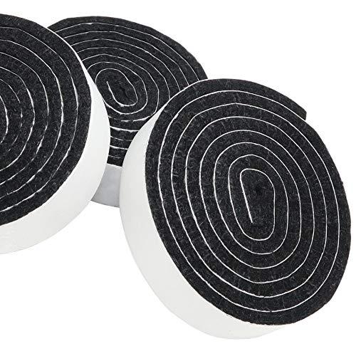 Adsamm | 3 x Rotoli di feltrini adesivi | 19x1000 mm | nero | Piedini mobili in feltro autoadesivo...
