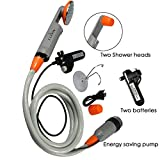 Qbuds Tragbare Campingdusche, kompakte Duschpumpe mit Zwei abnehmbaren USB-Akkus, Handbrause für Camping, Wandern, Reisen, Notfälle (2 Batterien)