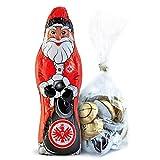 Eintracht Frankfurt Schokoladen Weihnachtsmann, Schoko Nikolaus (150 g) SGE Plus gratis Fussball-Schokoladenmischung (150g)