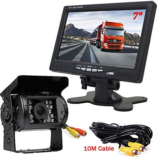 12V-24V 18LEDs Visore notturno impermeabile Retromarcia telecamera di retromarcia di backup 7 'TFT LCD Monitor LCD di parcheggio a colori per bus di rimorchio per camion RV, con cavo video 10M