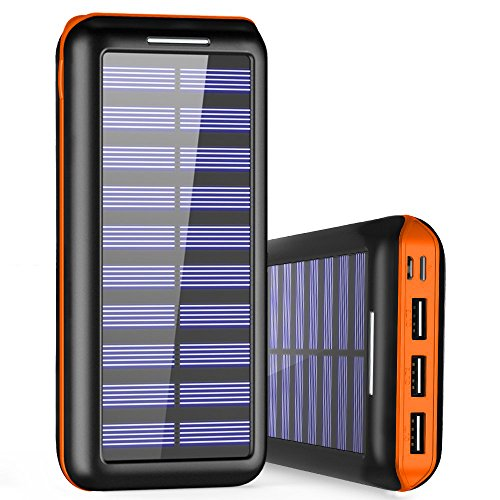 Externer Akku PLOCHY 24000mAh Solar Powerbank, Solar Ladegerät mit 3 Ausgänge und Lighting & Micro Dual Input Power Bank Handy für iPhone, iPad, Samsung Galaxy und andere Smartphones(Orange)